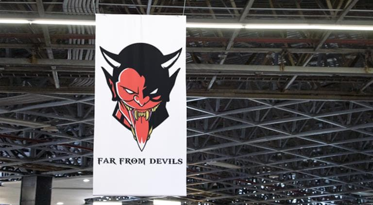 Far From Devils - Eyelet Banner - Multiple Graphic Design