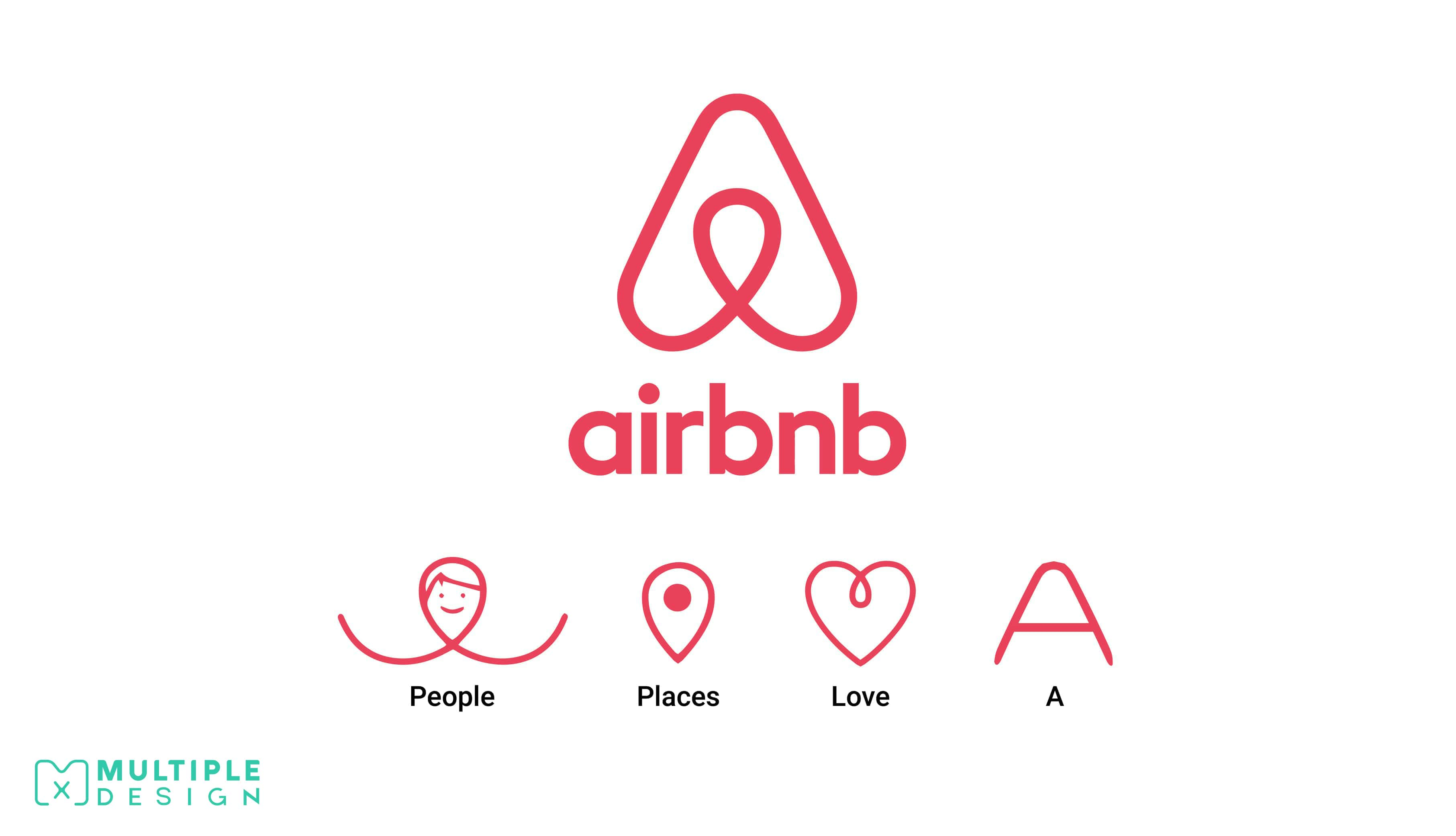 Airbnb logo, people, places, love, a